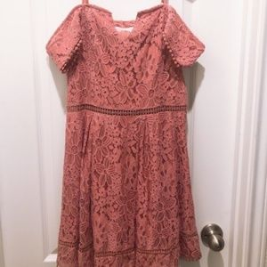 Francesca's Pink Lace Off the Shoulder Dress